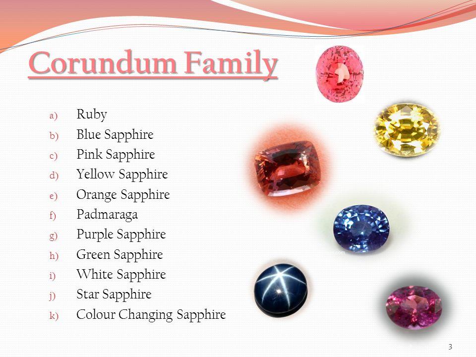 Colouring elements in Corundum Ruby- Cr 3+ Blue - Fe 2+ / Ti 4+ Yellow- Fe 3+, Colour centers Orange- Cr 3+, Fe 3+, Colour centers Padmaraga- Cr 3+, Fe 3+, Colour centers Green - Fe 2+ Purple- Cr 3+, Fe 2+, Ti 4+ Pink- Cr 3+ 24
