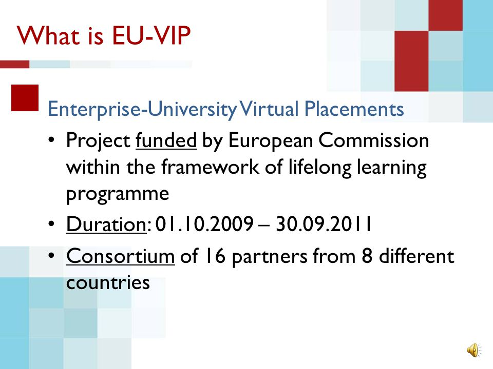 What is EU-VIP Enterprise-University Virtual Placements Project funded by European Commission within the framework of lifelong learning programme Duration: 01.10.2009 – 30.09.2011 Consortium of 16 partners from 8 different countries