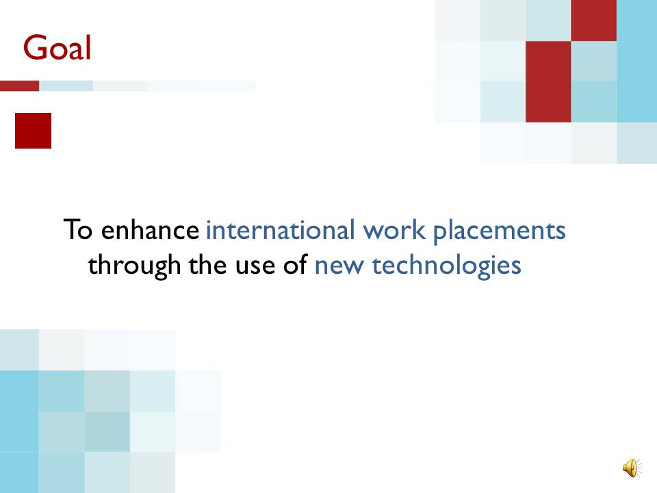 Goal To enhance international work placements through the use of new technologies