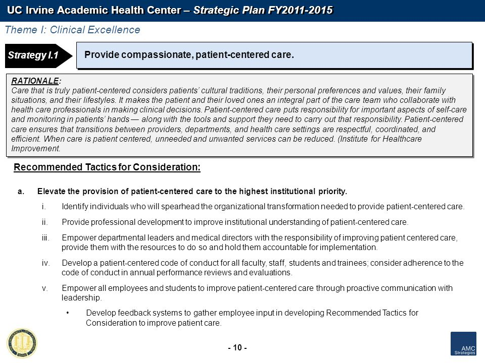 UC Irvine Academic Health Center – Strategic Plan FY2011-2015 - 10 - Strategy 1: Strategy I.1 Provide compassionate, patient-centered care. Recommende