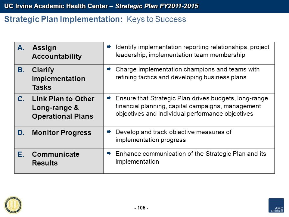 UC Irvine Academic Health Center – Strategic Plan FY2011-2015 - 105 - A. Assign Accountability Identify implementation reporting relationships, projec