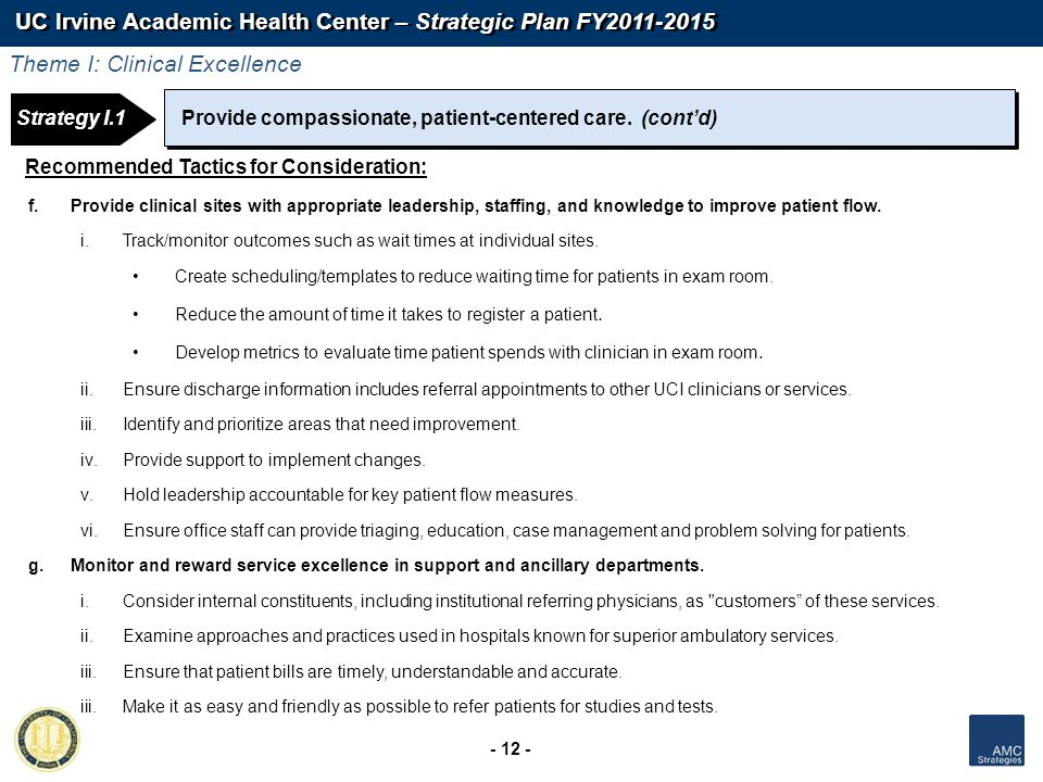 UC Irvine Academic Health Center – Strategic Plan FY2011-2015 - 12 - Strategy 1: Strategy I.1Provide compassionate, patient-centered care. (contd) Rec