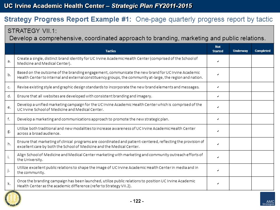 UC Irvine Academic Health Center – Strategic Plan FY2011-2015 - 122 - STRATEGY VII.1: Develop a comprehensive, coordinated approach to branding, marke