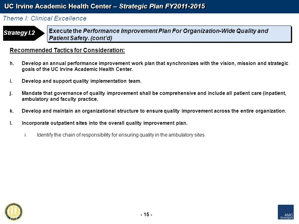 UC Irvine Academic Health Center – Strategic Plan FY2011-2015 - 15 - Strategy 1: Strategy I.2 Execute the Performance Improvement Plan For Organizatio