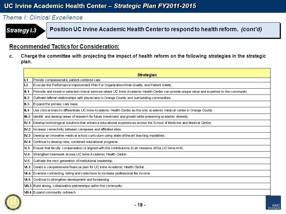 UC Irvine Academic Health Center – Strategic Plan FY2011-2015 - 18 - Position UC Irvine Academic Health Center to respond to health reform. (contd) Re