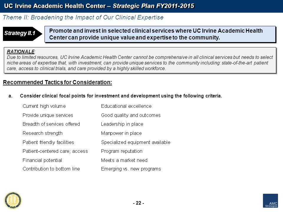 UC Irvine Academic Health Center – Strategic Plan FY2011-2015 - 22 - Strategy 1: Strategy II.1 Promote and invest in selected clinical services where