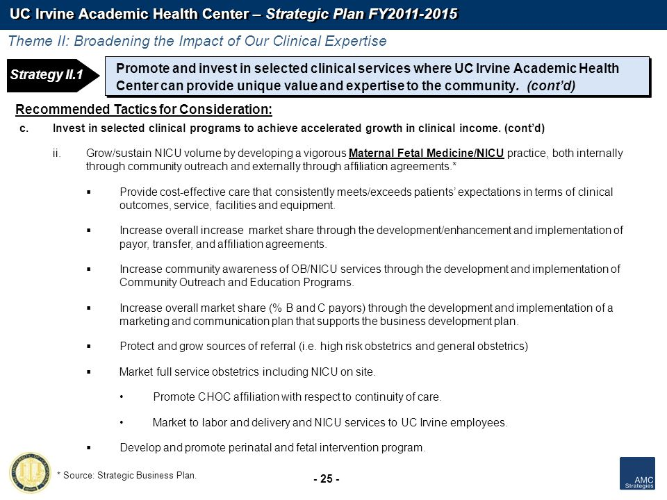 UC Irvine Academic Health Center – Strategic Plan FY2011-2015 - 25 - Recommended Tactics for Consideration: c.Invest in selected clinical programs to