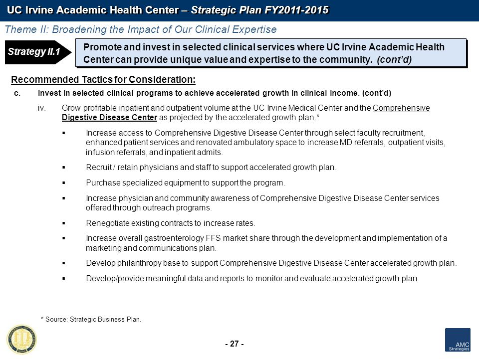UC Irvine Academic Health Center – Strategic Plan FY2011-2015 - 27 - Recommended Tactics for Consideration: c.Invest in selected clinical programs to