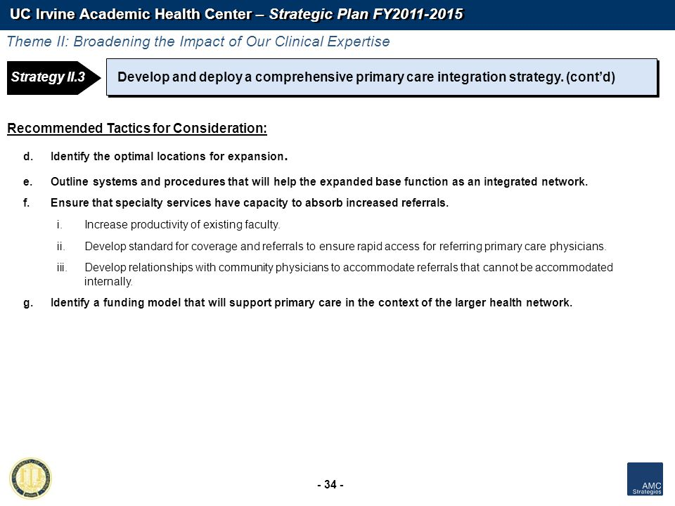 UC Irvine Academic Health Center – Strategic Plan FY2011-2015 - 34 - Strategy 1: Strategy II.3Develop and deploy a comprehensive primary care integrat