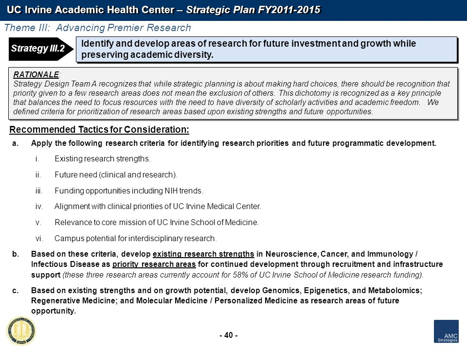 UC Irvine Academic Health Center – Strategic Plan FY2011-2015 - 40 - Identify and develop areas of research for future investment and growth while pre
