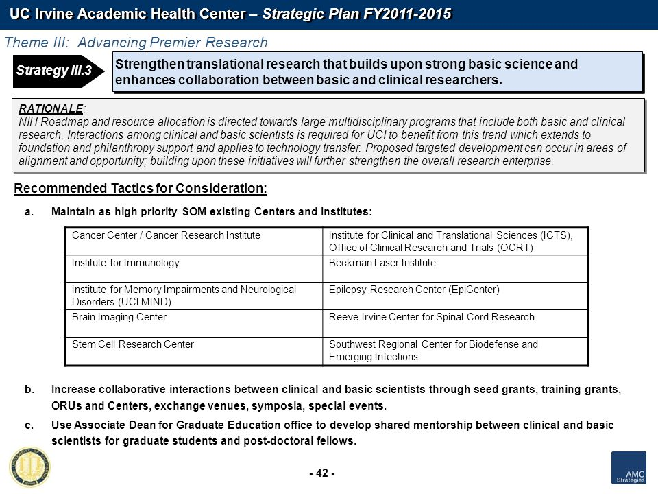 UC Irvine Academic Health Center – Strategic Plan FY2011-2015 - 42 - Strengthen translational research that builds upon strong basic science and enhan
