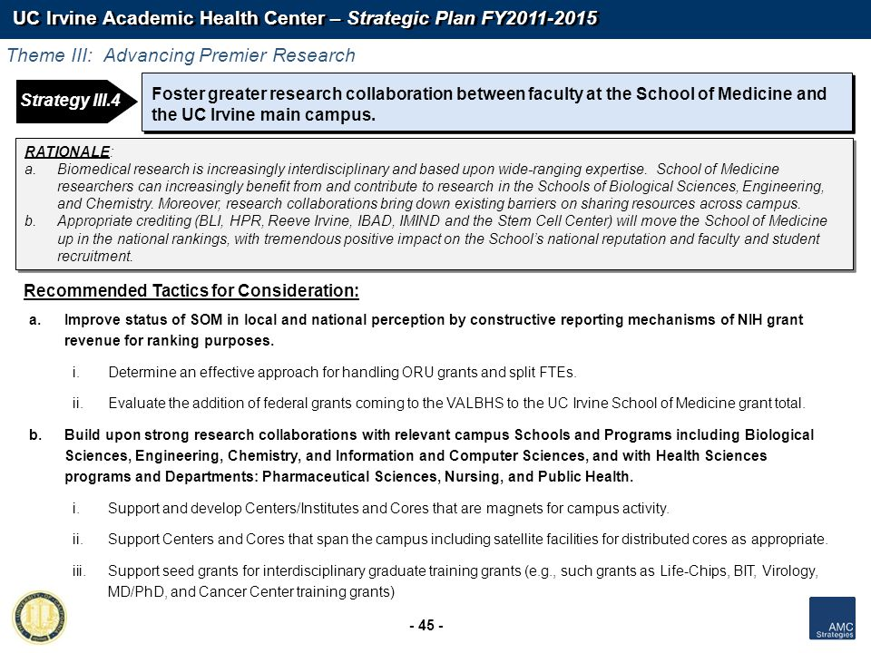 UC Irvine Academic Health Center – Strategic Plan FY2011-2015 - 45 - Foster greater research collaboration between faculty at the School of Medicine a