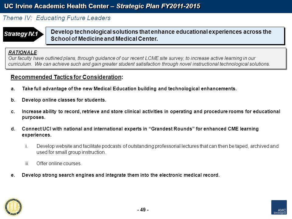 UC Irvine Academic Health Center – Strategic Plan FY2011-2015 - 49 - Develop technological solutions that enhance educational experiences across the S
