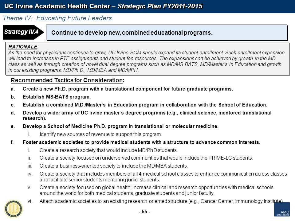 UC Irvine Academic Health Center – Strategic Plan FY2011-2015 - 55 - Strategy 1: Continue to develop new, combined educational programs. Recommended T