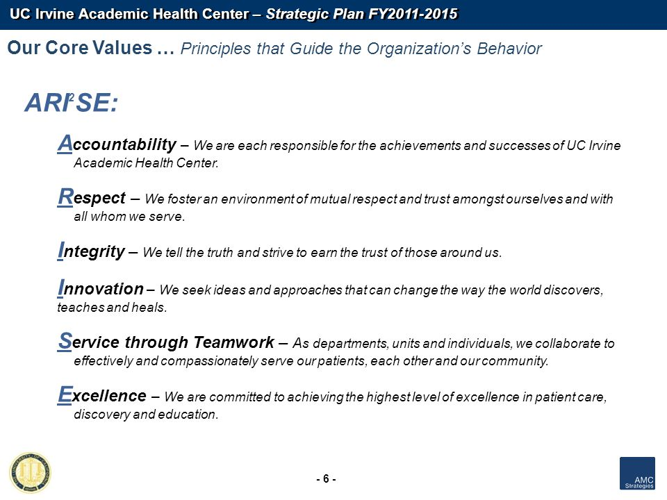 UC Irvine Academic Health Center – Strategic Plan FY2011-2015 - 6 - Our Core Values … Principles that Guide the Organizations Behavior ARI 2 SE: A cco