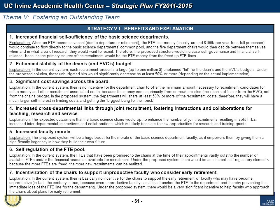 UC Irvine Academic Health Center – Strategic Plan FY2011-2015 - 61 - STRATEGY V.1: BENEFITS AND EXPLANATION 1. Increased financial self-sufficiency of