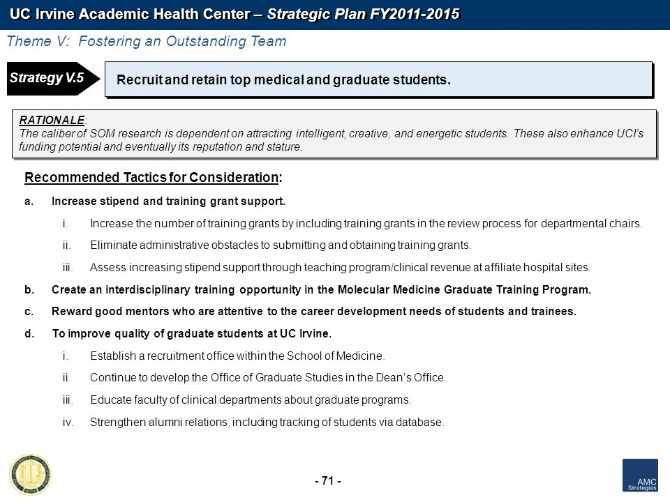 UC Irvine Academic Health Center – Strategic Plan FY2011-2015 - 71 - Recruit and retain top medical and graduate students. RATIONALE: The caliber of S