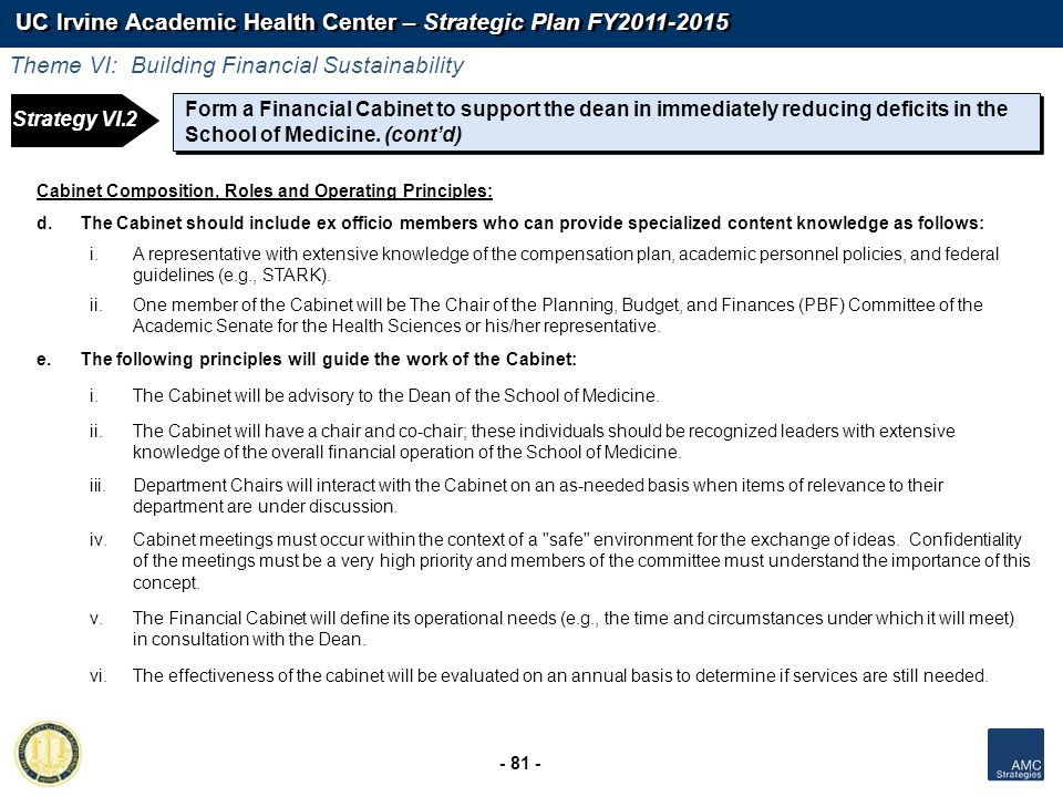 UC Irvine Academic Health Center – Strategic Plan FY2011-2015 - 81 - Form a Financial Cabinet to support the dean in immediately reducing deficits in