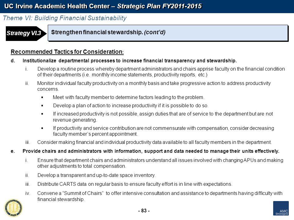 UC Irvine Academic Health Center – Strategic Plan FY2011-2015 - 83 - Strengthen financial stewardship. (contd) Theme VI: Building Financial Sustainabi