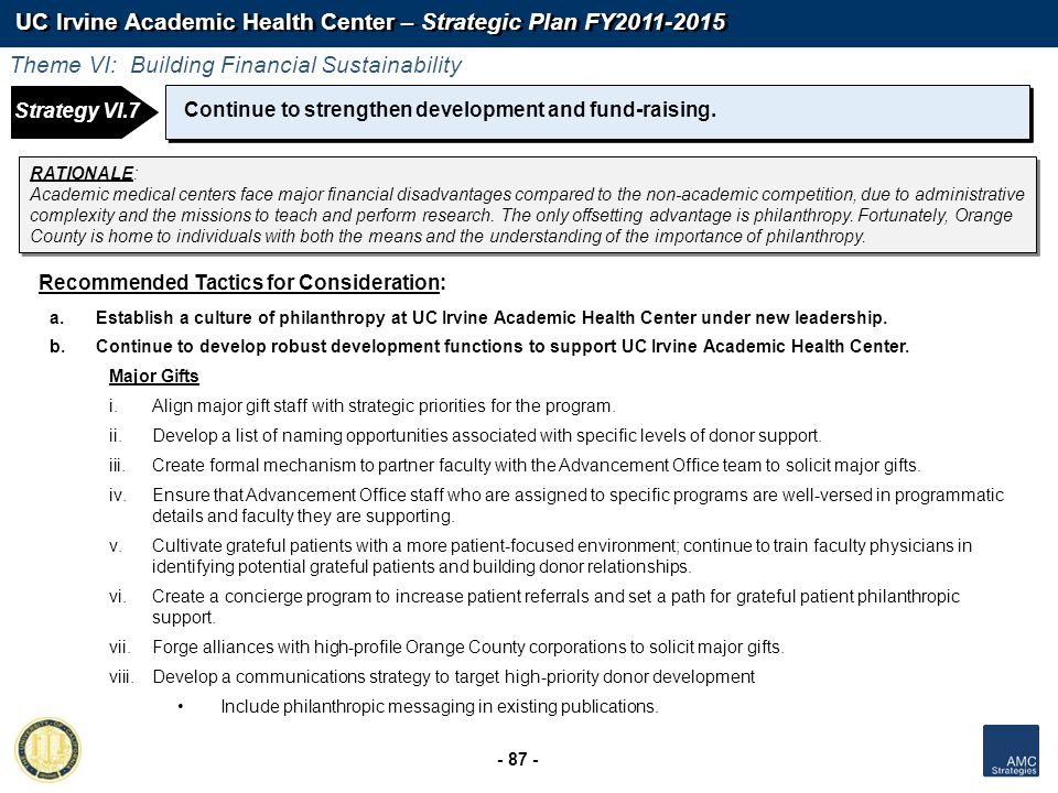 UC Irvine Academic Health Center – Strategic Plan FY2011-2015 - 87 - Continue to strengthen development and fund-raising. Recommended Tactics for Cons