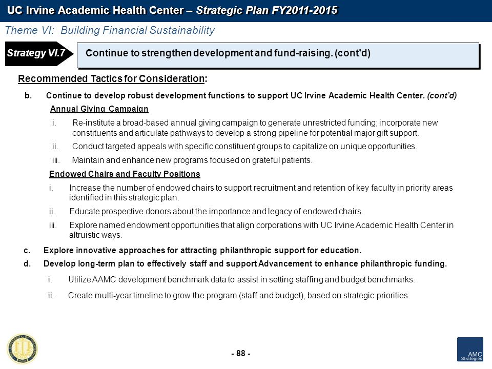 UC Irvine Academic Health Center – Strategic Plan FY2011-2015 - 88 - Continue to strengthen development and fund-raising. (contd) Recommended Tactics