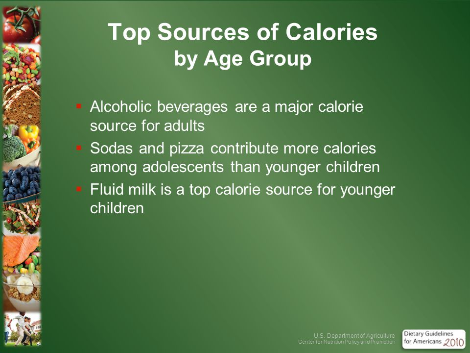 U.S. Department of Agriculture Center for Nutrition Policy and Promotion Top Sources of Calories by Age Group Alcoholic beverages are a major calorie
