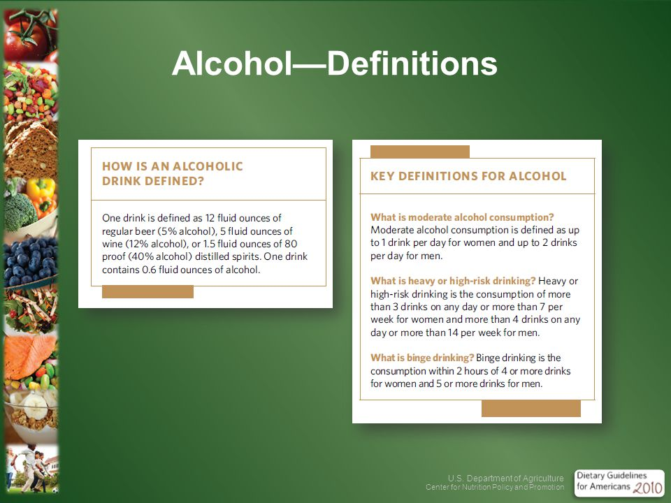 U.S. Department of Agriculture Center for Nutrition Policy and Promotion AlcoholDefinitions