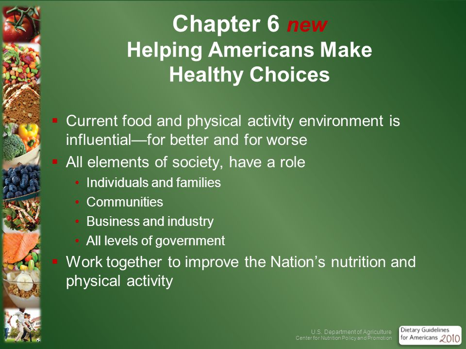 U.S. Department of Agriculture Center for Nutrition Policy and Promotion Chapter 6 new Helping Americans Make Healthy Choices Current food and physica