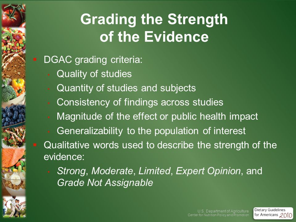 U.S. Department of Agriculture Center for Nutrition Policy and Promotion Grading the Strength of the Evidence DGAC grading criteria: Quality of studie