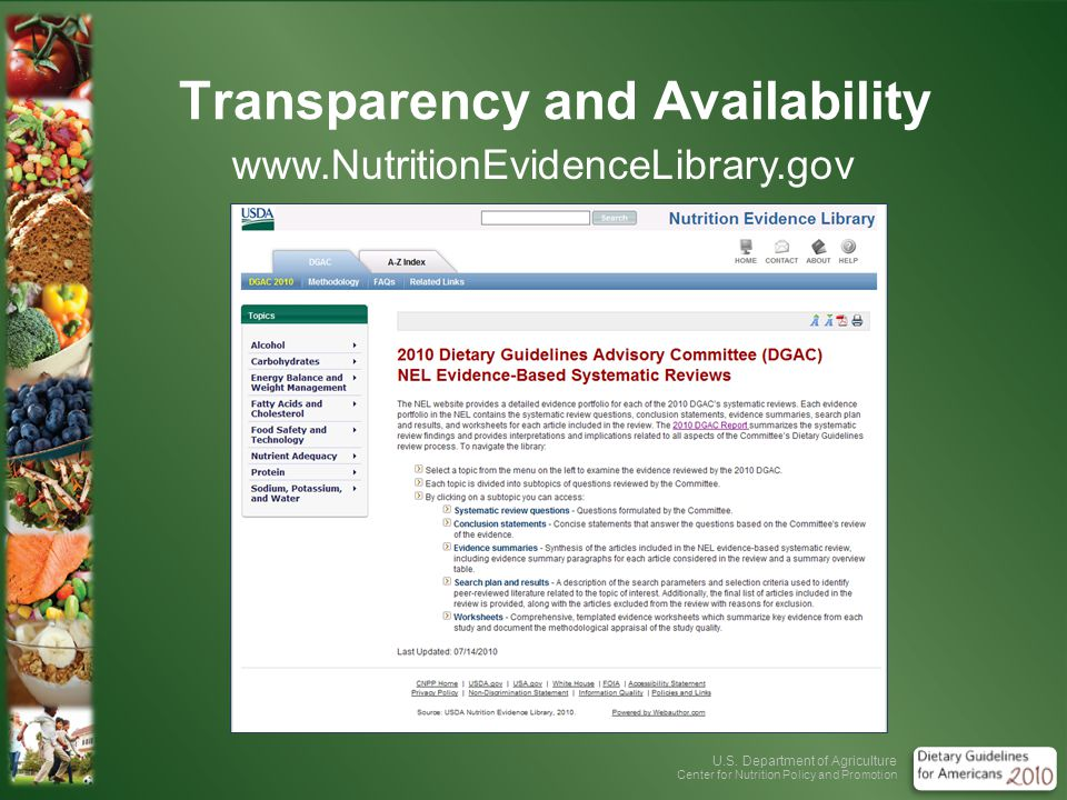U.S. Department of Agriculture Center for Nutrition Policy and Promotion Transparency and Availability www.NutritionEvidenceLibrary.gov