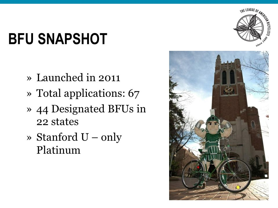 BFU SNAPSHOT »Launched in 2011 »Total applications: 67 »44 Designated BFUs in 22 states »Stanford U – only Platinum