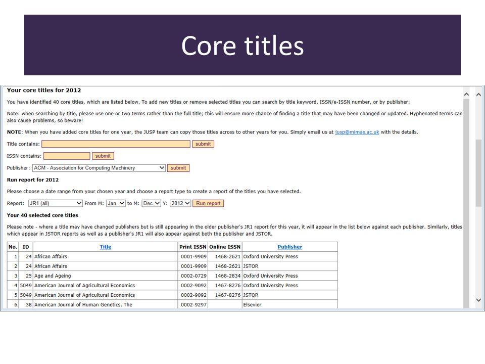 Core titles