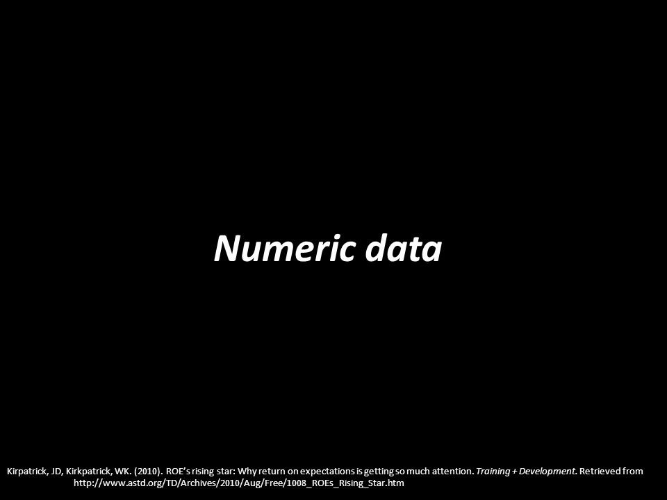 Numeric data Kirpatrick, JD, Kirkpatrick, WK. (2010). ROEs rising star: Why return on expectations is getting so much attention. Training + Developmen
