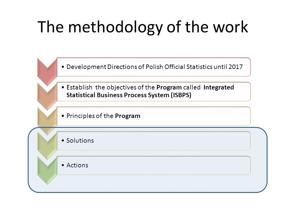 The methodology of the work Development Directions of Polish Official Statistics until 2017 Establish the objectives of the Program called Integrated