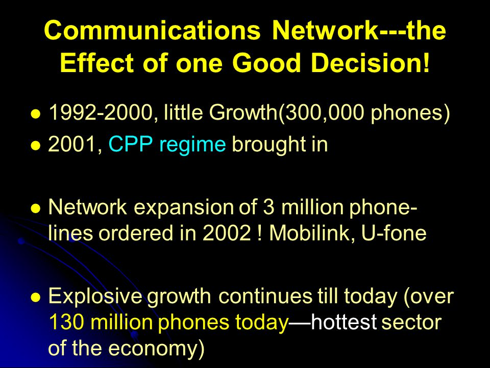 Communications Network---the Effect of one Good Decision! 1992-2000, little Growth(300,000 phones) 2001, CPP regime brought in Network expansion of 3