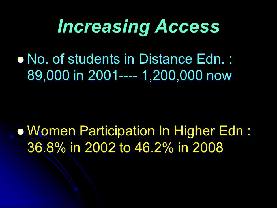 Increasing Access No. of students in Distance Edn.