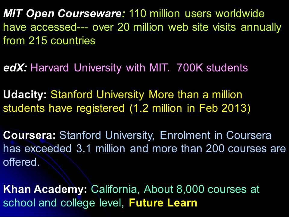MIT Open Courseware: 110 million users worldwide have accessed--- over 20 million web site visits annually from 215 countries edX: Harvard University