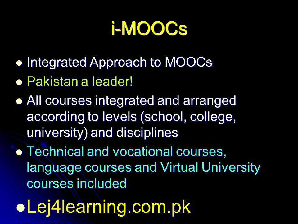 i-MOOCs Integrated Approach to MOOCs Integrated Approach to MOOCs Pakistan a leader.