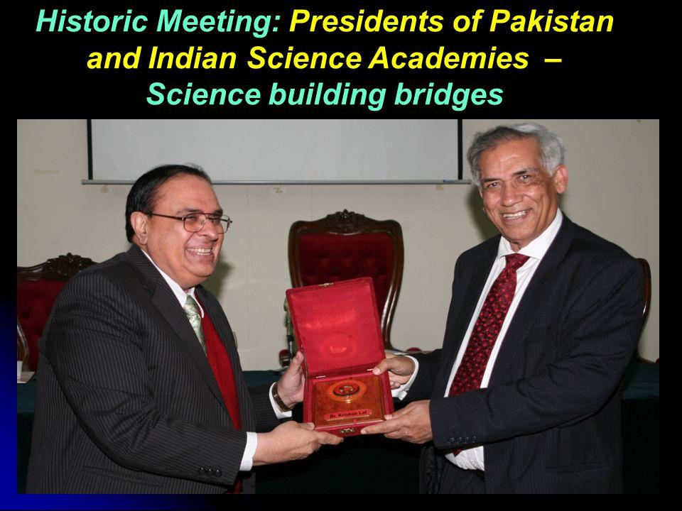 Historic Meeting: Presidents of Pakistan and Indian Science Academies – Science building bridges