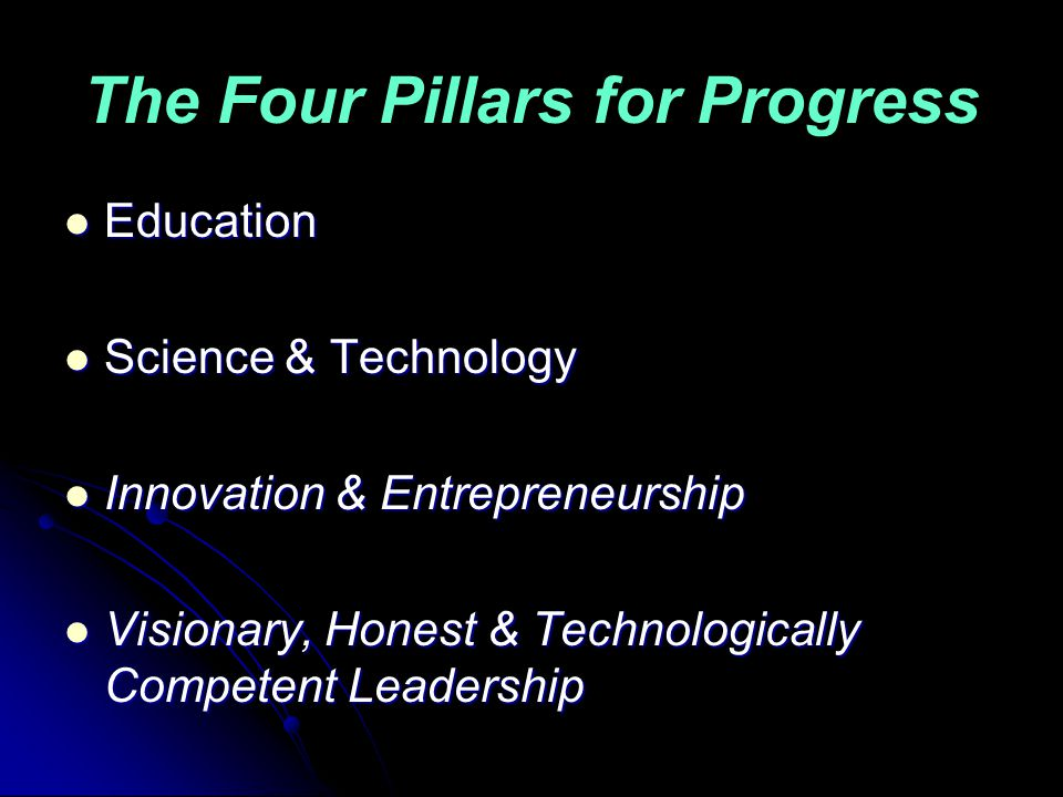 The Four Pillars for Progress Education Education Science & Technology Science & Technology Innovation & Entrepreneurship Innovation & Entrepreneurship Visionary, Honest & Technologically Competent Leadership Visionary, Honest & Technologically Competent Leadership
