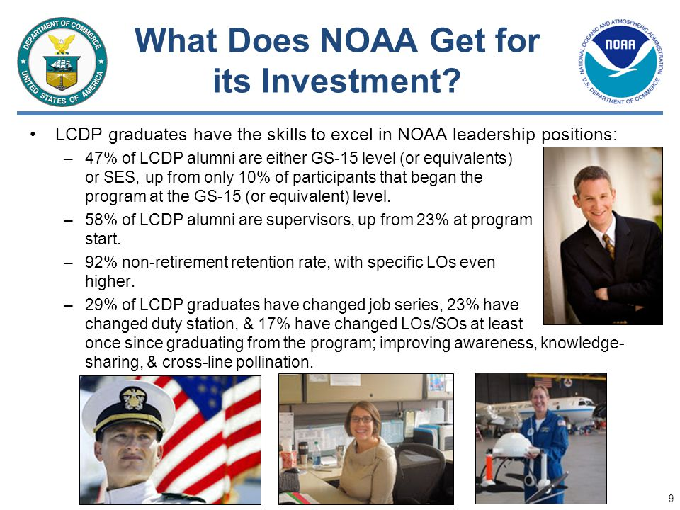 What Does NOAA Get for its Investment? LCDP graduates have the skills to excel in NOAA leadership positions: –47% of LCDP alumni are either GS-15 leve