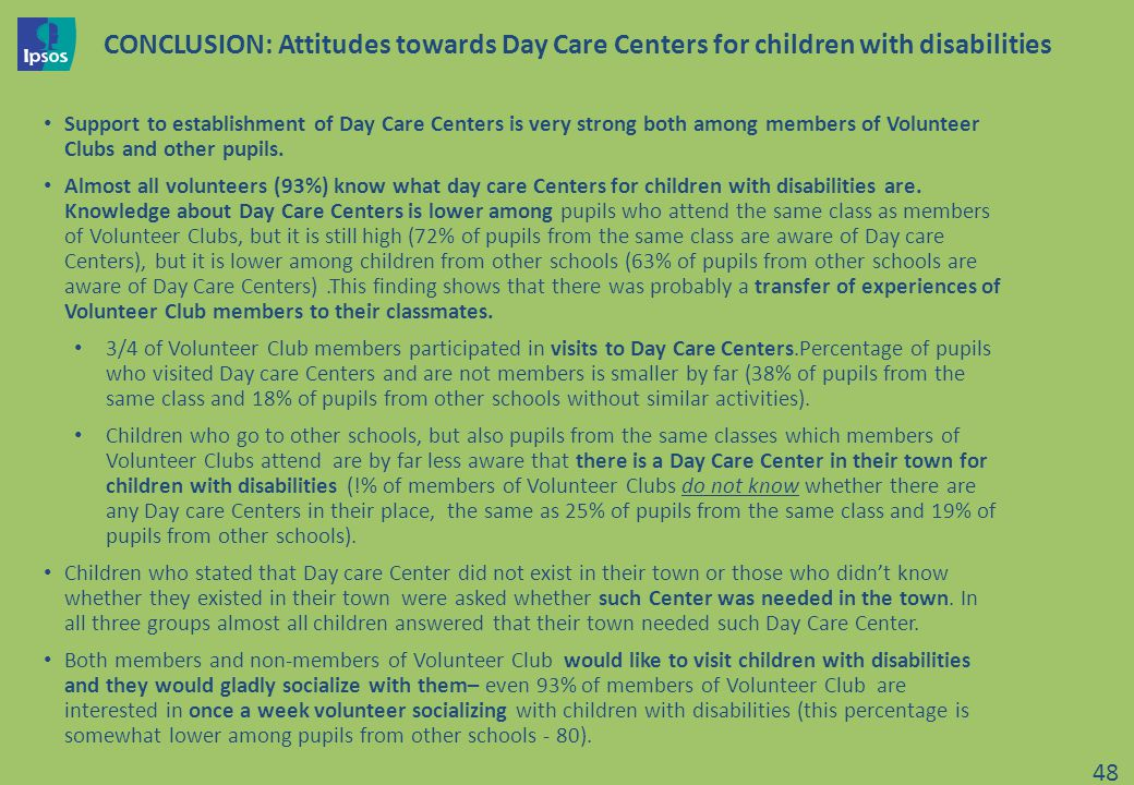 CONCLUSION: Attitudes towards Day Care Centers for children with disabilities Support to establishment of Day Care Centers is very strong both among members of Volunteer Clubs and other pupils.