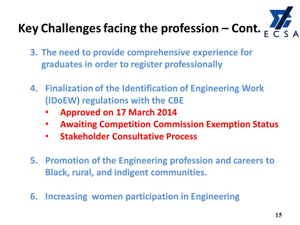 Key Challenges facing the profession – Cont.