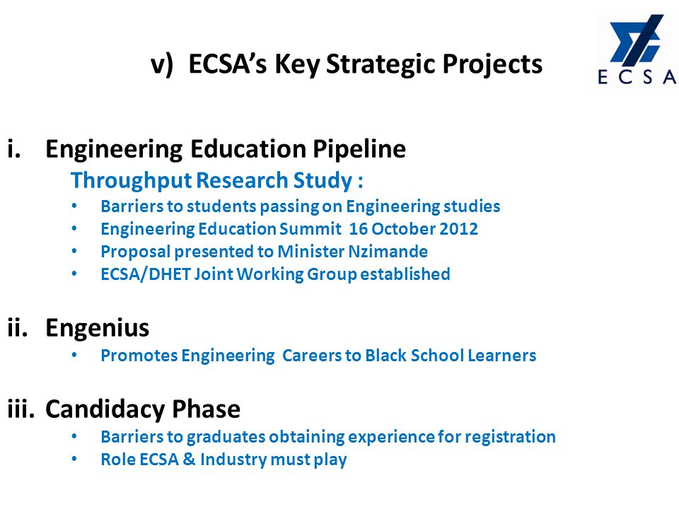 i.Engineering Education Pipeline Throughput Research Study : Barriers to students passing on Engineering studies Engineering Education Summit 16 Octob