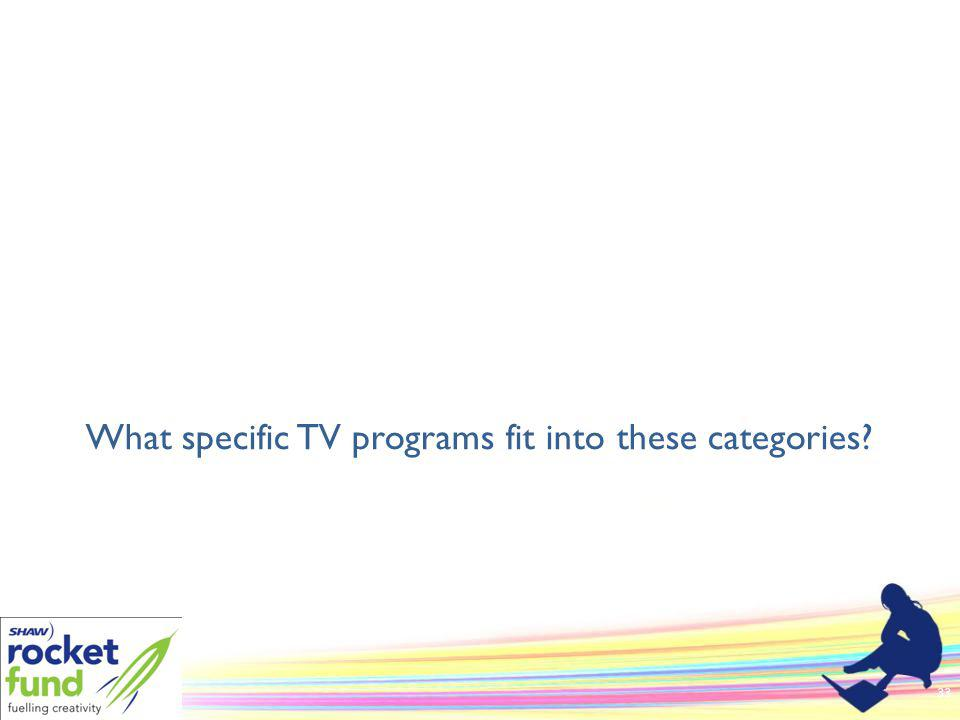 What specific TV programs fit into these categories 33