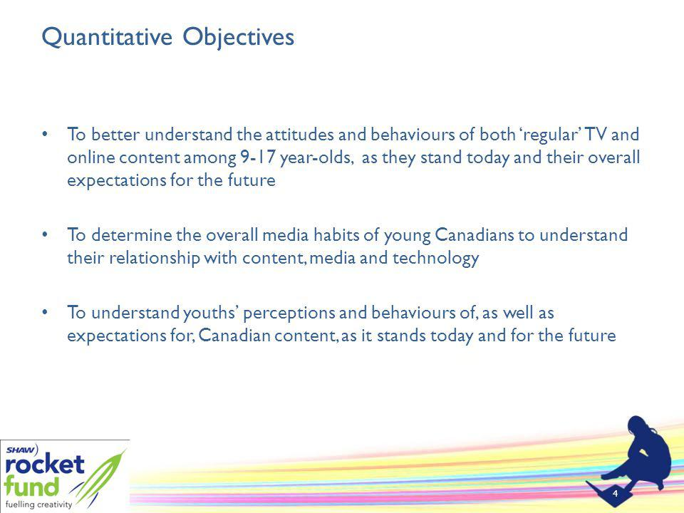 Quantitative Objectives To better understand the attitudes and behaviours of both regular TV and online content among 9-17 year-olds, as they stand today and their overall expectations for the future To determine the overall media habits of young Canadians to understand their relationship with content, media and technology To understand youths perceptions and behaviours of, as well as expectations for, Canadian content, as it stands today and for the future 4