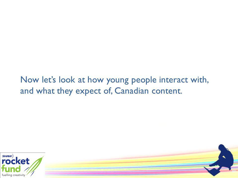 Now lets look at how young people interact with, and what they expect of, Canadian content. 59