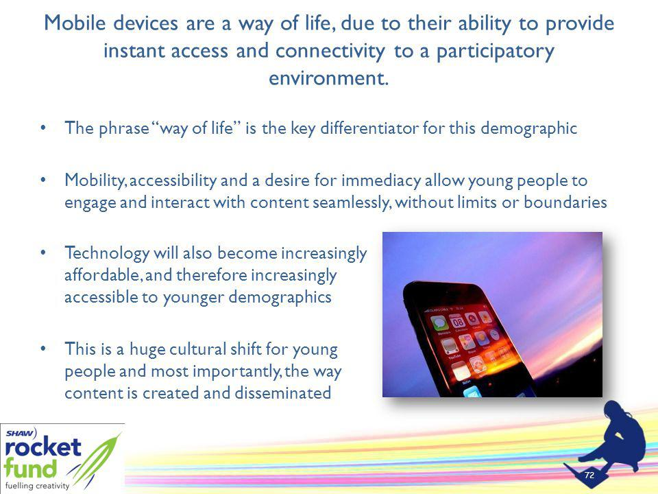 Mobile devices are a way of life, due to their ability to provide instant access and connectivity to a participatory environment.