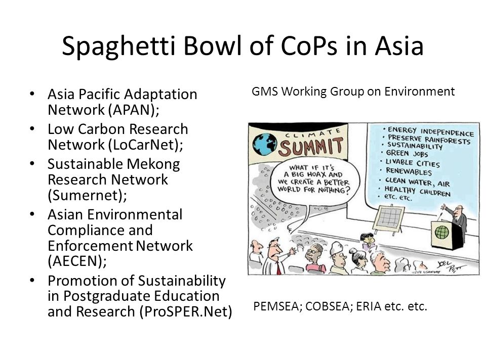 Spaghetti Bowl of CoPs in Asia Asia Pacific Adaptation Network (APAN); Low Carbon Research Network (LoCarNet); Sustainable Mekong Research Network (Sumernet); Asian Environmental Compliance and Enforcement Network (AECEN); Promotion of Sustainability in Postgraduate Education and Research (ProSPER.Net) GMS Working Group on Environment PEMSEA; COBSEA; ERIA etc.