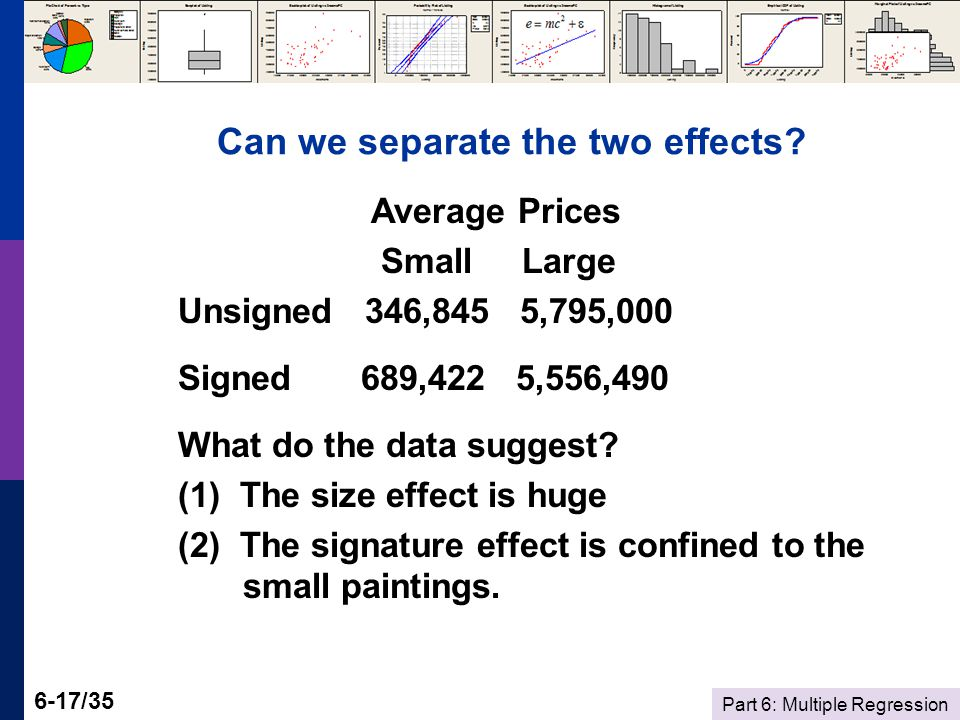 Part 6: Multiple Regression 6-17/35 Can we separate the two effects.